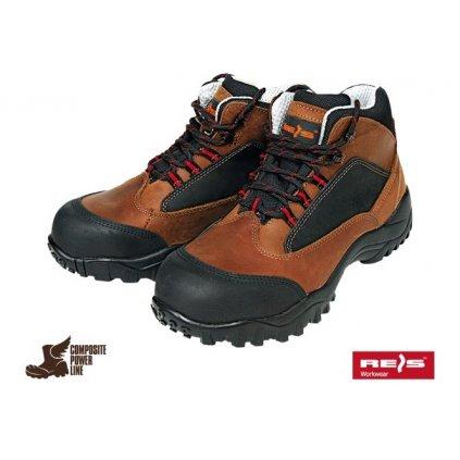 Celoročná pracovná členková obuv značky REIS kategórie S3 HRO SRC (Veľkosť 47, Farba hnedá)