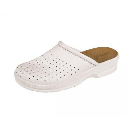 Kožené zdravotné biele dámske šľapky GOLDENFIT ČERVA TARUCA (Veľkosť 41)