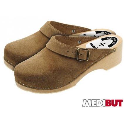 Zdravotné dreváky značky MEDIBUT:BMDREGLBE (Veľkosť 40, Farba hnedá)