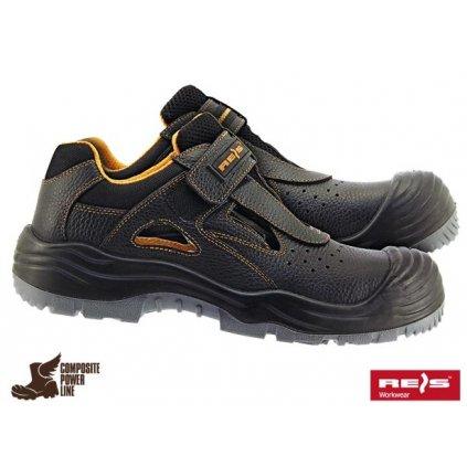 Sandály pracovné značky REIS : BCA (Veľkosť 47, Farba čierna)