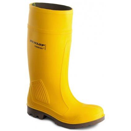 Žlté bezpečnostné čižmy s oceľovou špičkou  DUNLOP PUROFORT YELLOW C462241 S5 CI (Veľkosť 48)