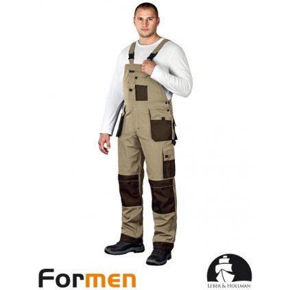 RAW L&H: Pracovné nohavice s náprsenkou LH-FMN-B BE3